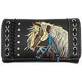 Zelris Dakota Dales Pony Pferd Stickerei Mähne Western Country Frauen Umhängetasche Geldbörse -  Schwarz -  Brieftasche