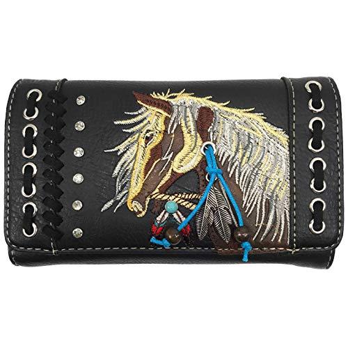 Zelris Dakota Dales Damen Geldbörse mit Pony-Pferd-Motiv, bestickt, Western-Land, Schwarz