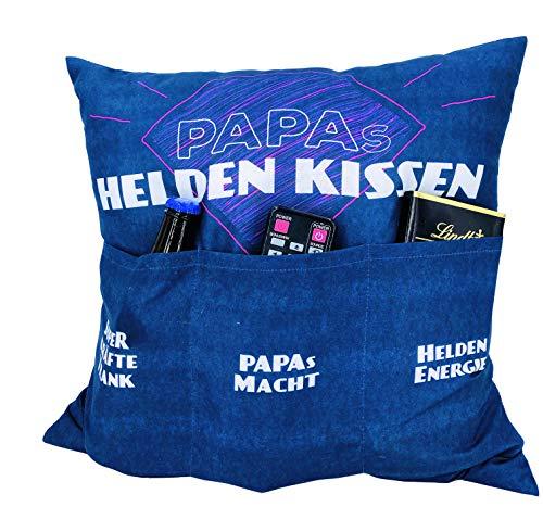 Kamaca Originelles Dekokissen Kissen mit 3 Taschen zum selber Befüllen Größe 43x43 cm tolles Geschenk für EIN gelungenen Sofaabend Filmabend (Papas Heldenkissen)