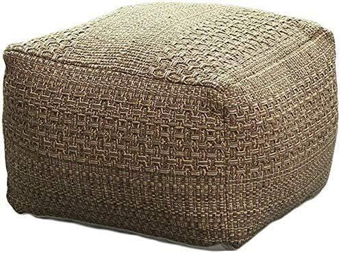 Taburete Otomano Ropa de cama Cubo de la bolsa de frijoles, taburete de almacenamiento otomano, cojín de suelo con borla, reposo al aire libre para exteriores ( Color : 42x42x33cm , Size : Brown )