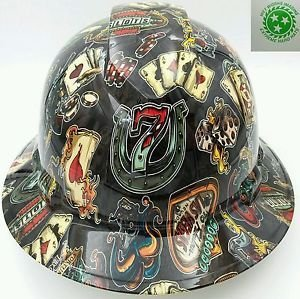 Wet Works Imaging Customized Pyramex Full Brim Wicked Gambler Lucky 7 Hard Hat with Ratcheting Suspension