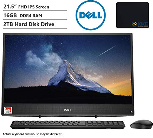 """Dell Inspiron All-in-One AIO Desktop Computer 21.5"""" FHD Display AMD A9-9425, 16GB RAM, 2TB HDD, HDMI, Multi-Card Reader, Wireless-AC, Bluetooth, KKE Mousepad, Wired Keyboard&Mouse, Win10"""