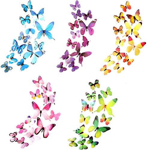 Xyedyaup mariposas pegatina de pared habitación niños niñaa 60 piezas mariposa wall stickers mágica artesanía adhesivos coloridos primavera flores colorida decoración accesorios wall butterflies