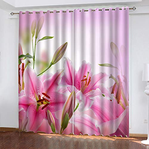 MMHJS Nordic 3D Flower Printing Curtains, Garden Balcony, Bedroom, Living Room Vertical Curtains, Polyester Waterproof Perforated Blackout Curtains (2 Pieces)