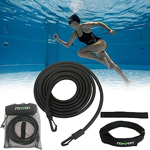 Rakeon Cintura Da Nuoto Per Allenamento Di Resistenza In Piscina Regolabile Con Elastico Per Nuoto Stazionario 3m