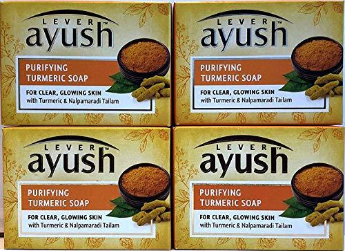 Levier Ayush purification du savon de curcuma, 100 g (Paquet de 4)