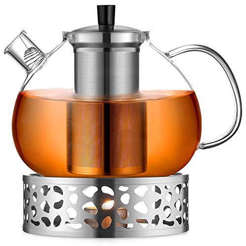 ecooe Original 2000ml Teekanne Glas Borosilikatglas Teebereiter mit 18/10 Edelstahl Stövchen Abnehmbare Sieb Rostfrei Hitzebeständig für schwarzen Tee grüner Tee Fruchttee duftender Tee und Teebeutel