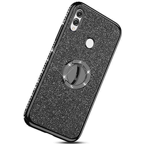 Saceebe Compatible avec Huawei P20 Lite Coque Silicone Motif G/éom/étrique Marbre TPU Housse Etui Souple Coque avec T/él/éphone Anneau Bague Support Paillette Brillant Strass,Vert