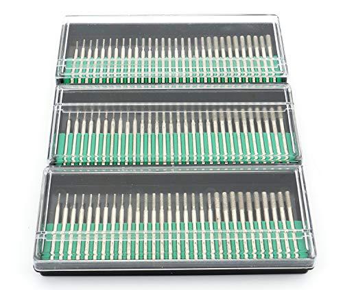 Lawei 90 Stück Diamantfräser-Set Bohrkronen Diamant-Schleifer Frässtifte für Glas Edelstein Metall Dremel Schleifen - 1 mm, 2 mm, 3 mm