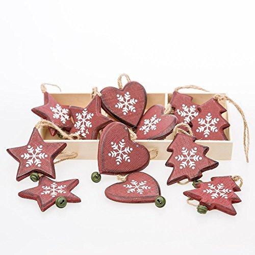 Scatola Di 12 Cuore Di Legno, Stella E Albero Christmas Decorations Da Christmas Decorations