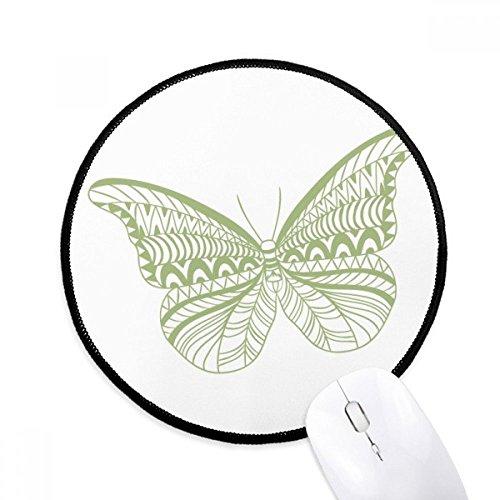 Grüne Schmetterlingsdrachen Runde rutschfeste Mousepads Schwarz genähte Kanten Game Office Geschenk