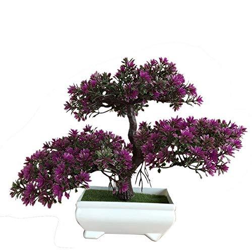 Flores Artificiales Flor de simulación Ganoderma árbol de Lotus del árbol de Pino Artificial de la Planta Bonsai Falso Verde Plantas de macetas Adornos Decoración del Arte (Color : 4)