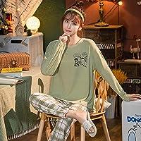 パジャマセット春秋のホーム服かわいいパジャマ 2 点セット女性チェック柄パンツパジャマ女性-Xxl