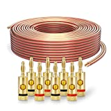 PureLink SP060-025 Cable de altavoz 2 x 2.5 mm² (99.9% OFC alambre de cobre sólido 0.20mm) Cable de altavoz de alta fidelidad, 25m, transparente, Set incluye 4 tapones de banana
