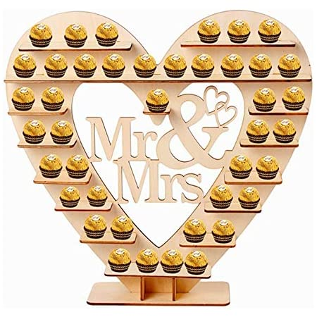 LJSLYJ Mr Mrs Chocolate Stand Wooden Chocolate Stand for Candy Stand Decoration Wedding Reception