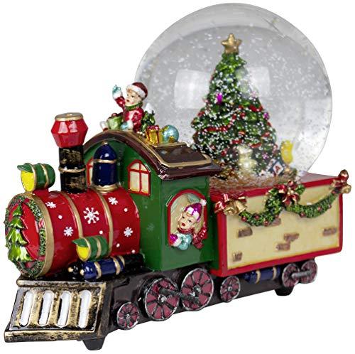 Christmas Paradise Weihnachts-Deko Zug Schneekugel mit Mechanischer Spieluhr Dekoration Tannenbaum 22cm Bunt