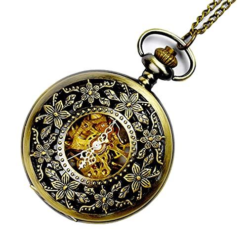 XGJJ Reloj de bolsillo clásico de los hombres de la manera de la decoración de la moda del reloj de bolsillo del metal del movimiento mecánico del reloj