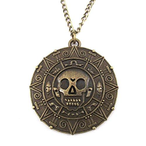 Piraten Halskette Fluch der Karibik Kette antiker Stil Silber Gold Bronze (Bronze)