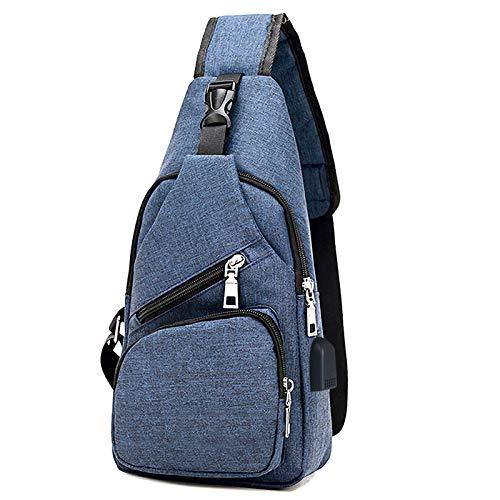 flintronic Sling Bag, Bolsa de Pecho con Puerto de Carga USB, Puerto Crossbody para Hombres Mujeres Senderismo Ligero Ciclismo Mochila de Viaje para Acampar (Incluye 1 Cable USB)