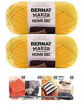 Bernat Maker Home Dec Corded Yarn Bundle 2 Skeins with 4 Patterns 8.8 Ounce Each Skein  Gold