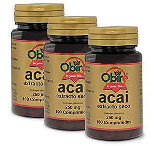 Obire | Acai 1000 mg | (Extracto Seco 250 mg |) 100 Comprimidos (Pack 3 unid.)