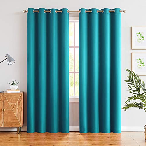 JUNFR Blackout Curtain Panels Window Draperies - Navy Blue, 52 x 63 inch, 2 Pieces, Insulating Room Darkening Blackout Drapes for Bedroom (Teal Blue, 52Wx95L)