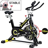 PYHIGHIndoor Cycling Bike Belt Drive Stationary Bicycle ExerciseBikes with LCD Monitor for Home...