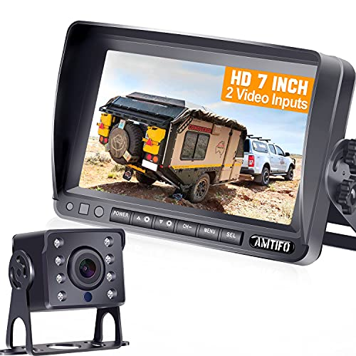 AMTIFO HD Backup Camera Kit 7 Inch Monitor Hitch Driving Rear View High-Speed Observation System