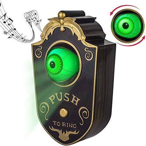 Timbre de un Ojo de Halloween, Decoración para el hogar Campana de Puerta para, Halloween Iluminado Talking Eyeball Timbre Prop Spooky Toy Regalo,Negro