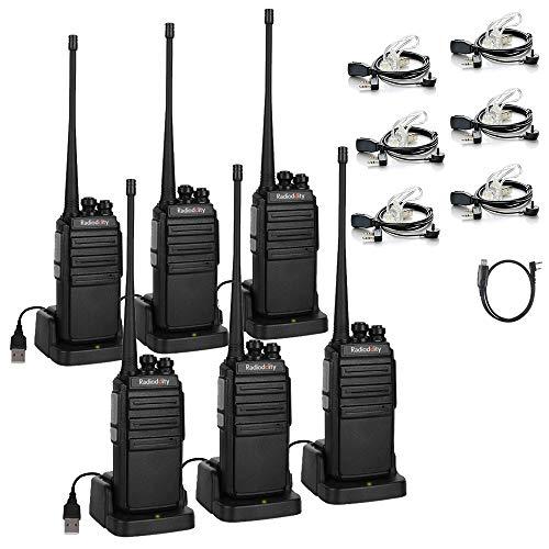 Walkie Talkies Radioddity GA-2S UHF Recargable Emisoras de Caza Largo Alcance Conexión de Carga Micro-USB con Auricular de Enlace acústico con Micro, Pack 6 y 1 Cable de programación