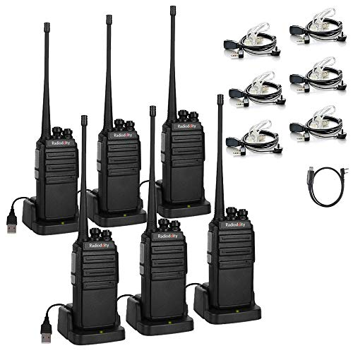 Radioddity GA-2S Long Range Walkie Talkies Two Way Radio for Camping/Security/Business with Micro USB Charging + Air Acoustic Earpiece with Mic + 1 Programming Cable (6 Pack)