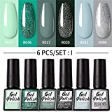 6 Pcs Gel Nail Polish Set-Mood Temperature Color Changing Gel Polish Long Lasting Soak Off Nail Lamp for Nail Art (#04)