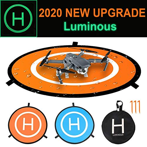 """Drone Waterproof Landing Pad with Luminous, Portable Universal Quadcopter Launch Pad with Storage bag, 30"""" Foldable Double Sided, Compatible with RC Drones Helicopter, DJI Mavic Pro Phantom 2/3/4/ Pro"""