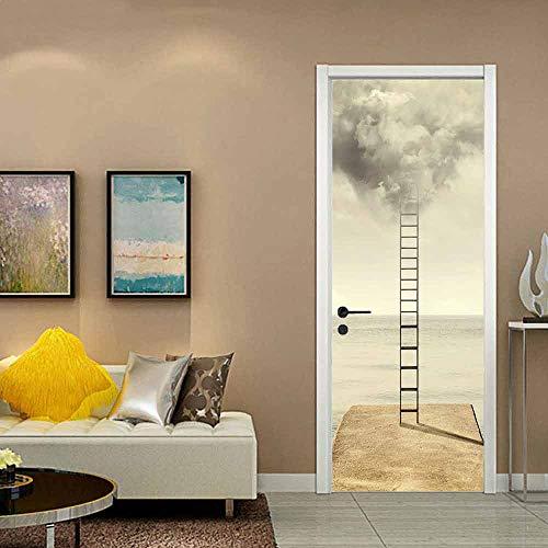 DFKJ Rama Pegatina Minimalista Mural en la Puerta decoración en Blanco y Negro 3D Papel Tapiz DIY decoración Puerta Dormitorio A1 77x200cm