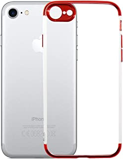 Transparent TPU Phone Case for iPhone 7 -Crystal Soft Case Full Protective Case Cover for iPhone for iPhone 8 (Red)