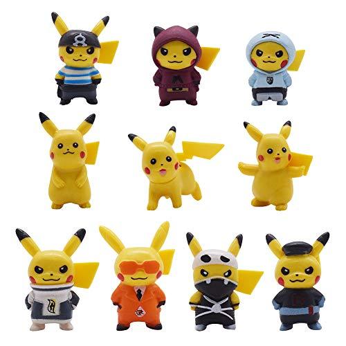 FANDE Tortendeko Geburtstag,10 PCS Pikachu Cupcake Figuren Cake Topper Geburtstags Party , Party Kuchen Dekoration Lieferungen für Kinder Geburtstag Baby Mädchen Junge