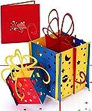 Geburtstagskarte 3D Pop Up Karte 'Happy Birthday Card Geschenke' als Einladung, Gutschein & Glückwunschkarte zum Geburtstag für Frauen, Männer, Kinder, auch für außergewöhnliche Geldgeschenke