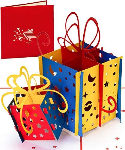 """Geburtstagskarte 3D Pop Up Karte \""""Happy Birthday Card Geschenke\"""" als Einladung, Gutschein & Glückwunschkarte zum Geburtstag für Frauen, Männer, Kinder, auch für außergewöhnliche Geldgeschenke"""