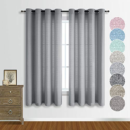 Gray Linen Look Curtains 63 Inch Length for Living Room Set of 2 Panels Country Chic Theme Window Drape Semi Sheer Light Filtering Curtains for Bedroom Dining Room Closet 52x63 Inches Long Grey