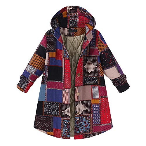JOFOW Womens Jackets Parka Cotton Quilted Plaid Block Patchwork Hooded Warm Padded Long Loose Coats Winter Plus Size XXXL (5XL =US:22-26,Red)
