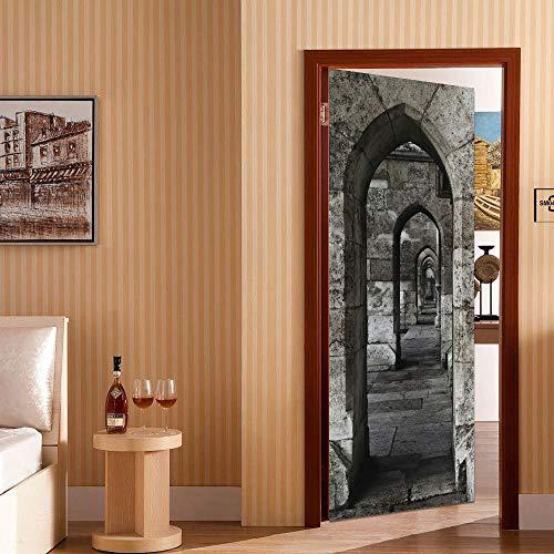 La nueva etiqueta engomada de la decoración del arco de piedra de Amazon La etiqueta engomada de la puerta de bricolaje a prueba de agua puede quitar las pegatinas de la puerta