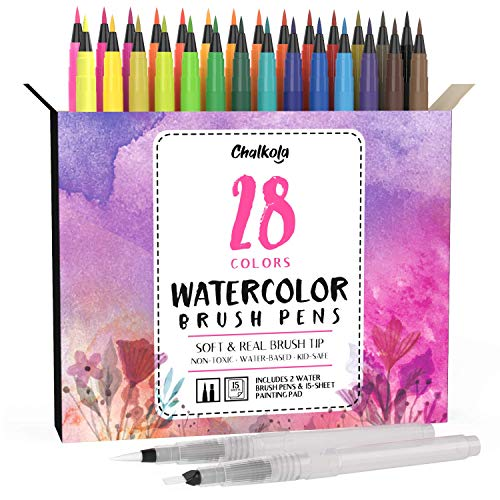 Watercolor Brush Pens | 28 Colors with 15-Sheet Watercolor Pad & 2 Blending Brush - Paint Markers for Painting, Coloring, Calligraphy, Drawing for Kids, Artists, Beginner Painters - Real Flexible Tips