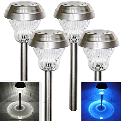 Solar Lights Outdoor Pathway Decorative Garden Light Stakes Waterproof Landscape Lighting Decorations Stake Glass Lens Stainless Steel Stake Bright 2 Color LED White Blue for Yard 4Pack