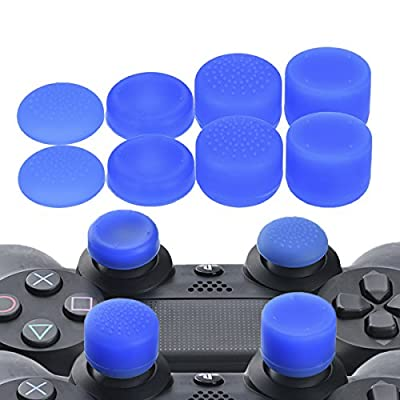 YoRHa Professional Thumb Grips Thumbstick Joystick Cap Cover (Blue) Extra High 8 Units Pack for PS4 Dualshock 4, Switch PRO, PS3, Xbox 360, Wii U Tablet, PS2 Controller