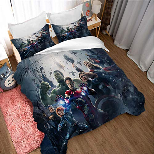 Zbeiba The Avengers Endgame Superhero Duvet Cover and Pillowcase Set for Kids and Adults, Microfibre,#12,single duvet cover,135 * 200cm, Pillowcases 50 * 75cm