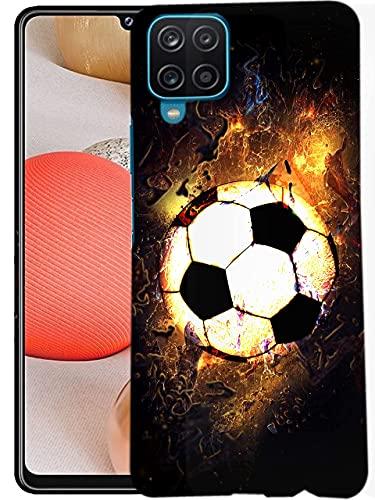 Glisten Samsung Galaxy A12 Case, Galaxy A12 5G Case, Galaxy A12 Nacho Case - Soccer On Fire Design Printed Slim Cute Plastic Hard Snap on Protective Back Case for Samsung A12, A12 5G & A12 Nacho.