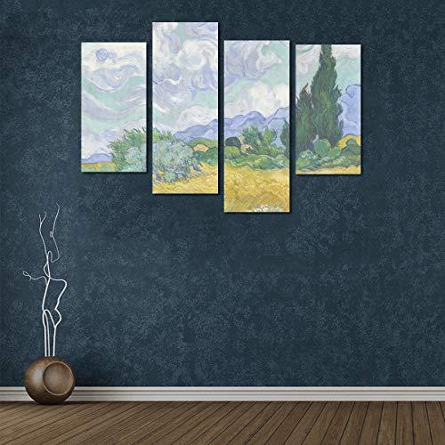 Zemivs 4 Stücke Druck Leinwand Stoff Weizenfeld Mit Zypressen Von Vincent Van Gogh Leinwand Wandfarbe Kein Rahmen Wohnzimmer Büro Hotel Wohnkultur Geschenk
