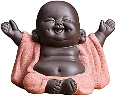 Kingzhuo Ceramic Little Cute Baby Buddha Statue Monk Figurine Buddha Figurines Home Decor Creative Baby Crafts Dolls Ornaments Gift Chinese Delicate Ceramic Arts and Crafts (Type 1)