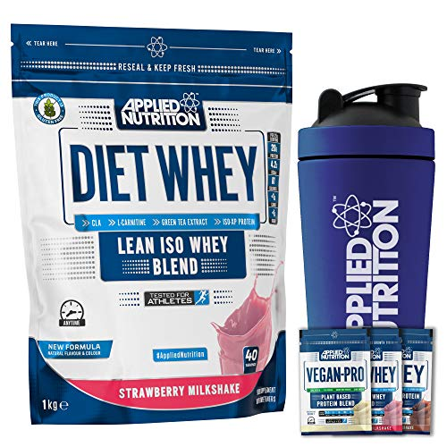 Applied Nutrition Bundle: Diet Whey Protein Powder Low Carb Low Sugar 1kg + 5 Sample Bundle + 750ml Steel Protein Shaker (Strawberry)