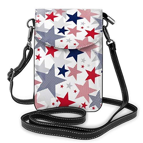 Generic American Stars Kleine Umhängetasche, Handtasche für Damen, PU-Leder, Handtasche mit verstellbarem Riemen für den Alltag